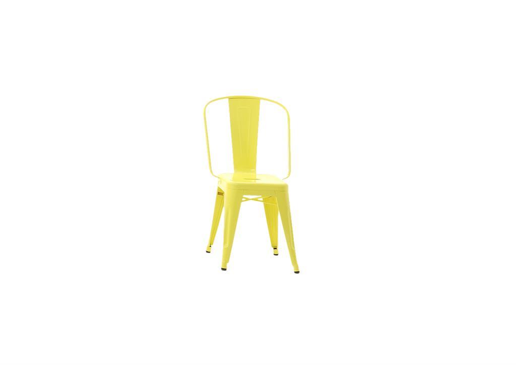Tabouret H45 Grand Dossier jaune citron