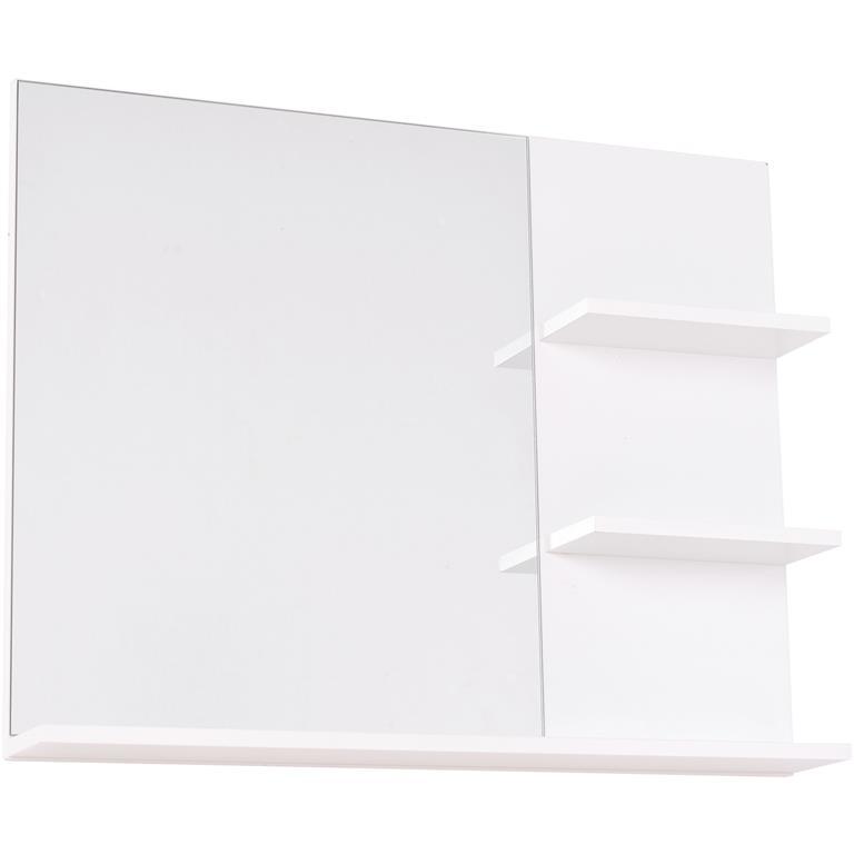 Miroir de salle de bain avec 3 étagères intégrées blanc