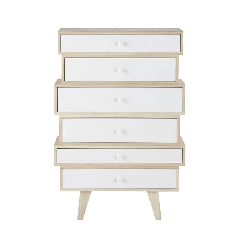Semainier style scandinave 6 tiroirs en paulownia blanc Spring
