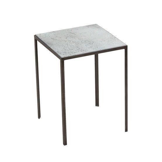 Table d'appoint carrée gris clair Patchwork - Notre Monde