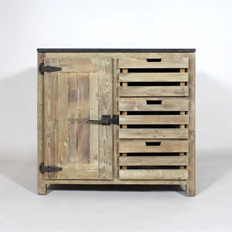 meuble bas cuisine bois recycl 3 tiroirs jc16