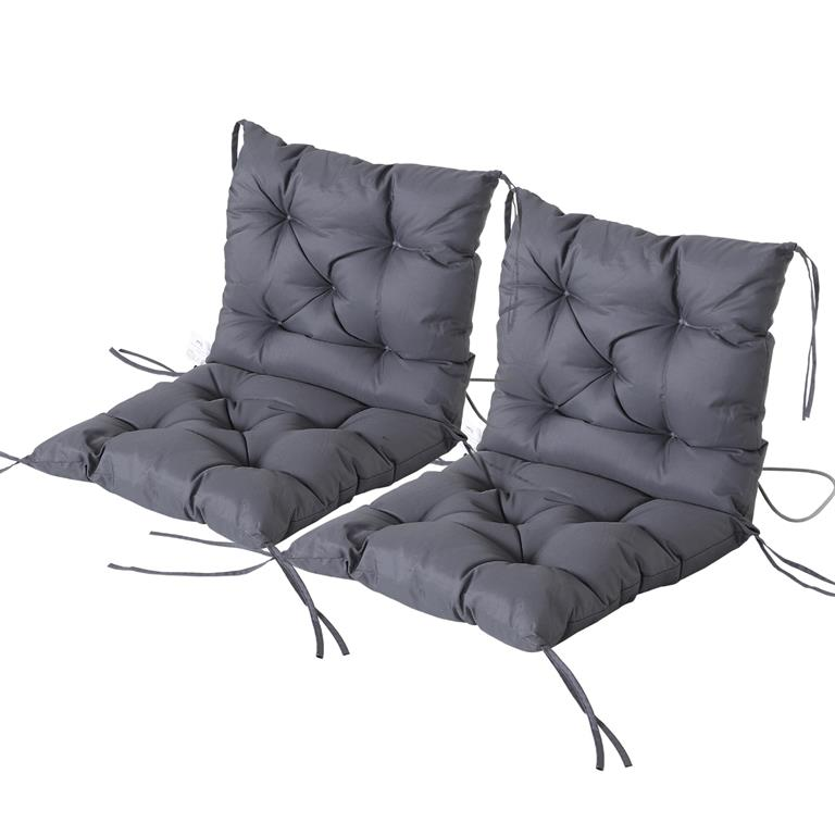 Lot de 2 coussins matelas assise dossier 2 en 1 pour chaise gris