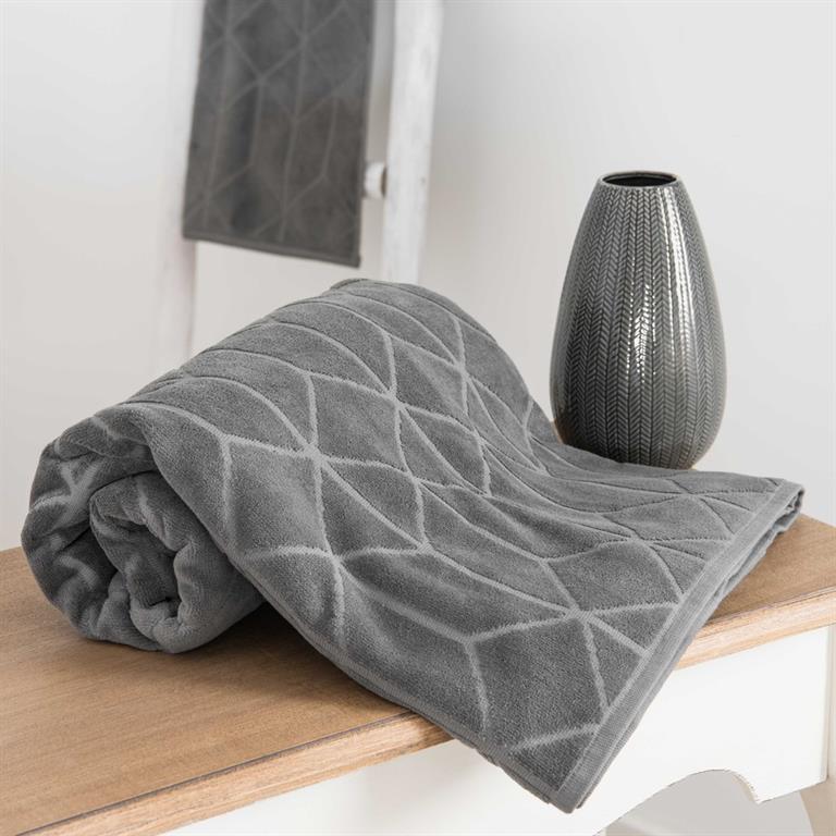 Drap de bain en coton anthracite à motifs 100x150