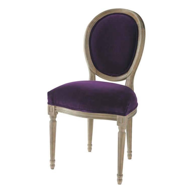 Chaise médaillon en velours et chêne massif aubergine Louis