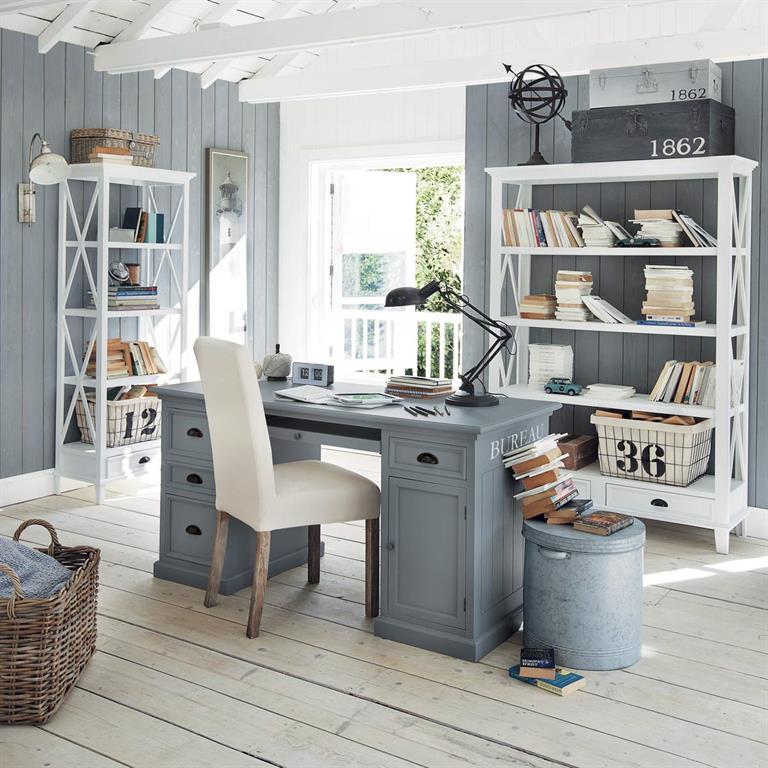 Bureau en pin gris L 150 cm Newport Maisons du monde