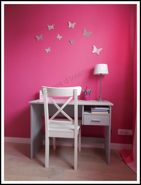 chambre fushia et grise. Black Bedroom Furniture Sets. Home Design Ideas