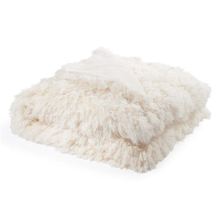 plaid en fausse fourrure blanc 130 x 170 cm val thorens. Black Bedroom Furniture Sets. Home Design Ideas