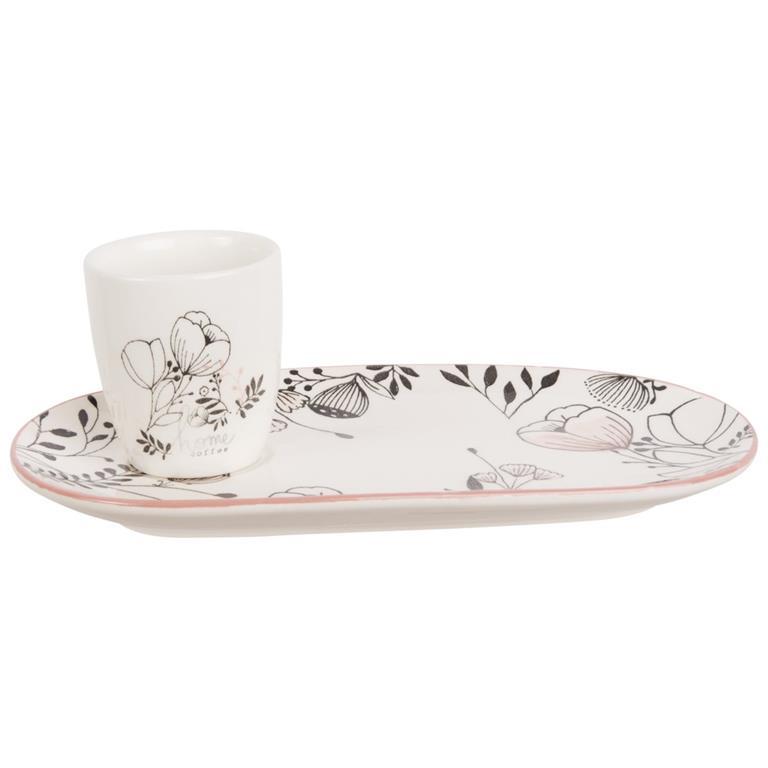 Set café gourmand en faïence motif floral gris et rose