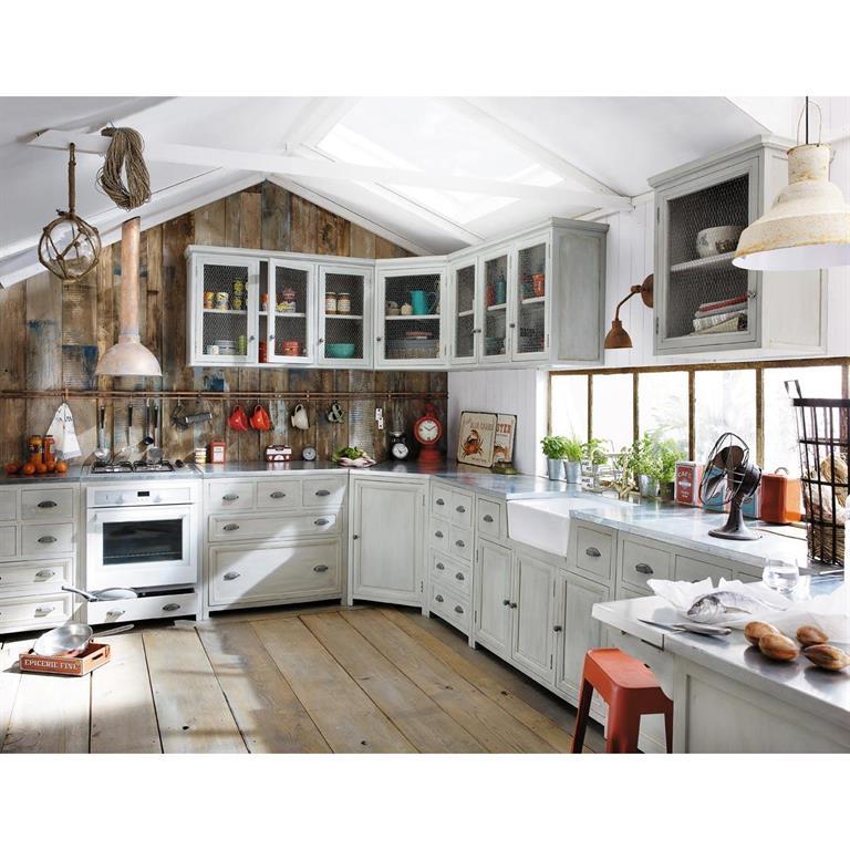Meuble haut de cuisine en bois dacacia gris L 120 cm Zinc