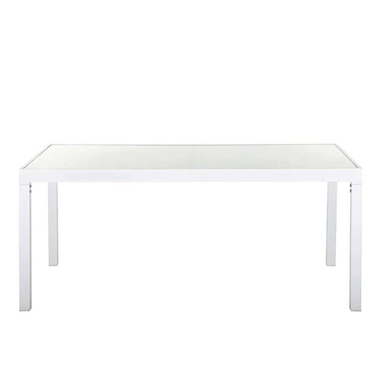 Table de jardin en verre et aluminium blanc 4 personnes Santorin