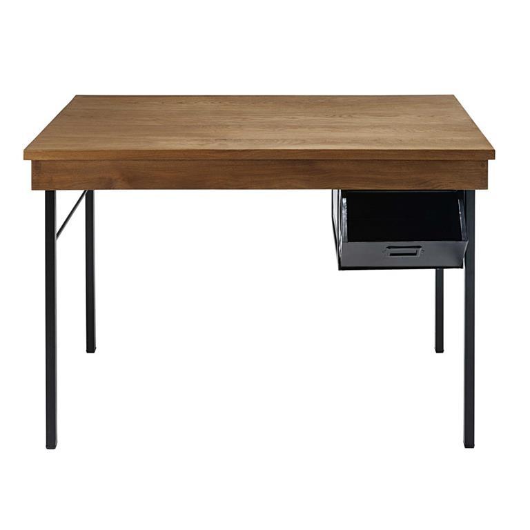 Bureau indus 1 tiroir en chêne massif et métal noir Hipster