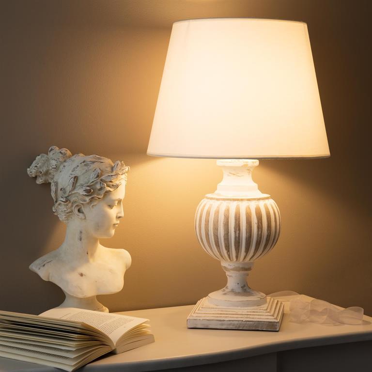 Lampe en manguier et abat-jour en coton blanc H 62 cm BEAUMONT
