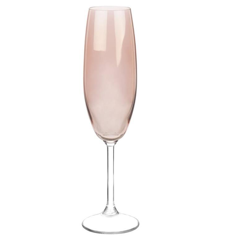 Flûte à champagne en verre teinté rose LUSTRE