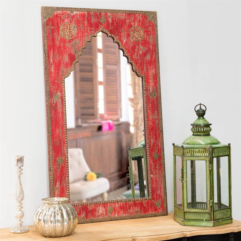 Miroir sculpté main rouge H 110 cm ANISH