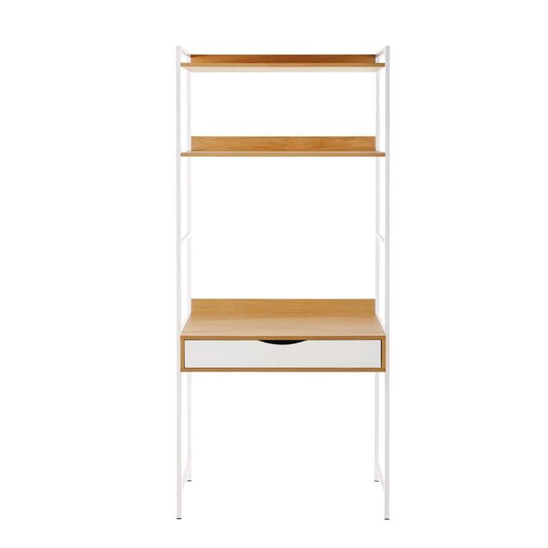 Bureau étagère 1 tiroir en métal blanc Poppins