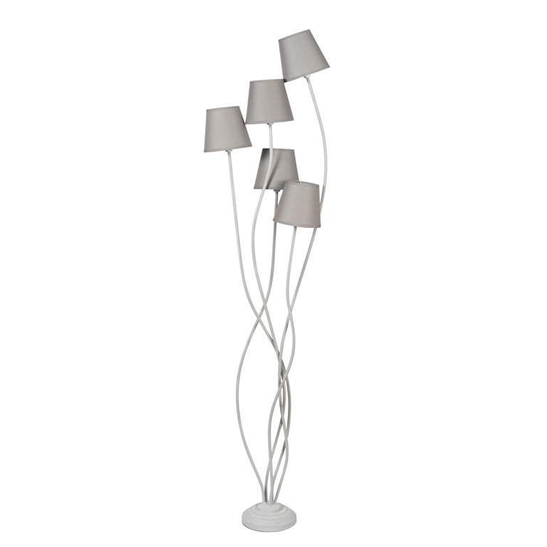 Lampadaire en métal et tissu gris H 156 cm TOSCANE