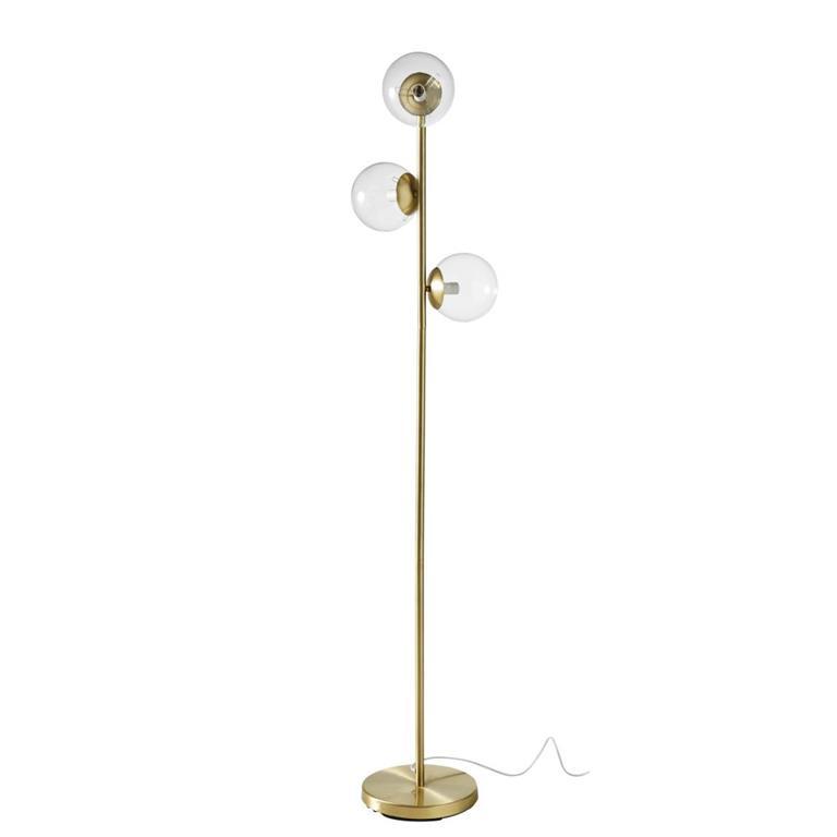 Lampadaire 3 globes en verre et métal doré H157
