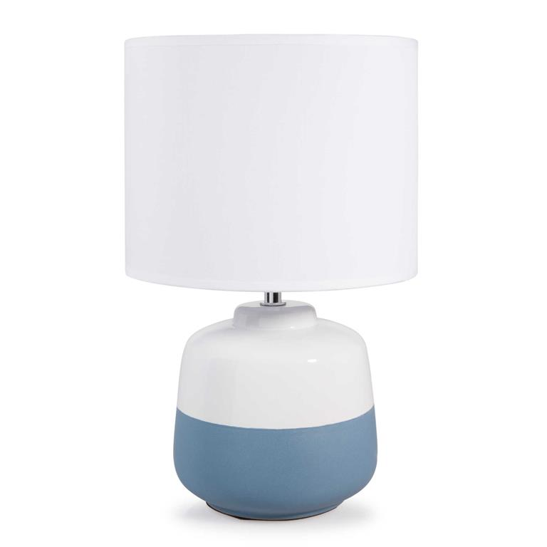 Lampe en céramique blanche/bleue H 35 cm HANSEN