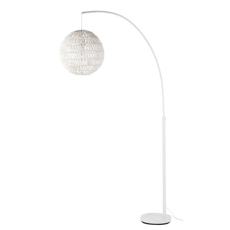 Lampadaire en métal blanc abat-jour en corde H200
