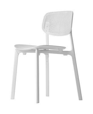 Chaise empilable colander polypropyl ne perfor kristalia blanc en mati re plastique for Chaise empilable plastique
