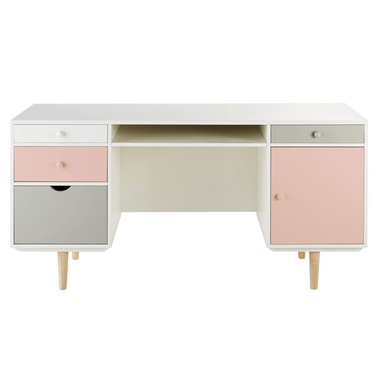 Bureau 1 porte 4 tiroirs blanc