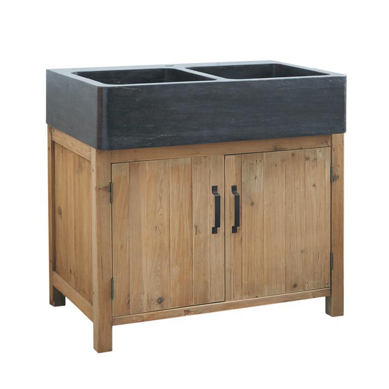 Meuble bas de cuisine avec évier en pin recyclé L90 Pagnol
