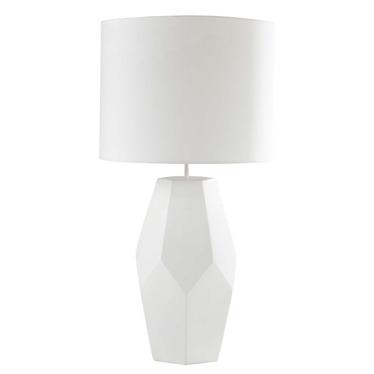 Lampe en résine et abat-jour en coton blanc H 75 cm ICEBERG
