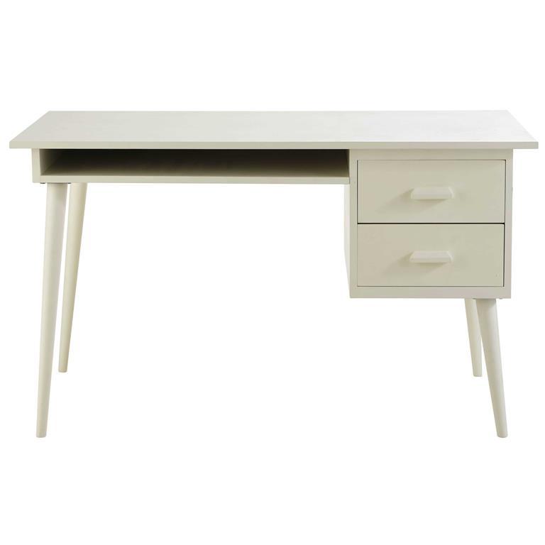 Bureau 2 tiroirs ivoire Alix
