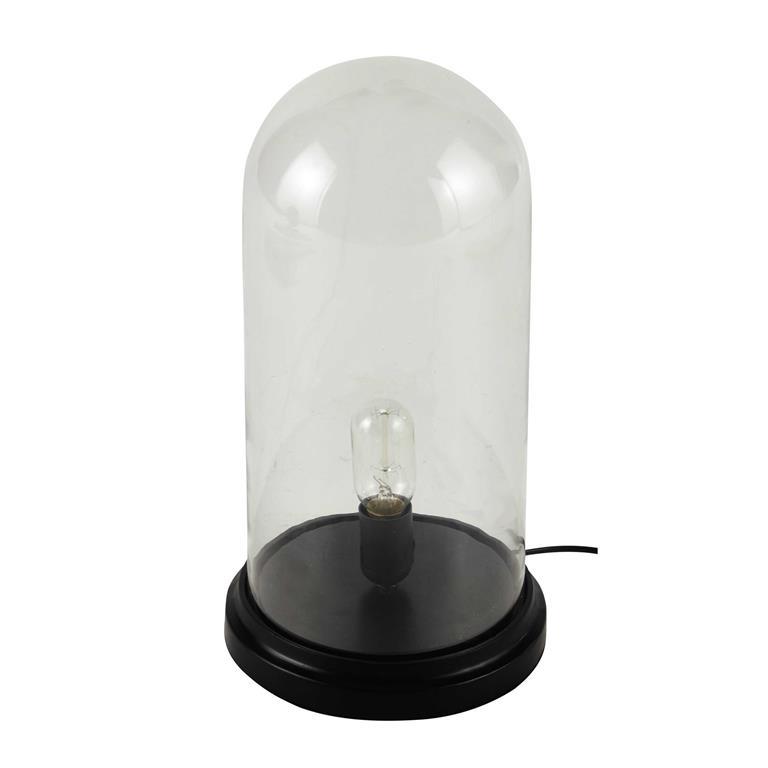 Lampe cloche en verre et bois noir H 45 cm ÉGLANTINE