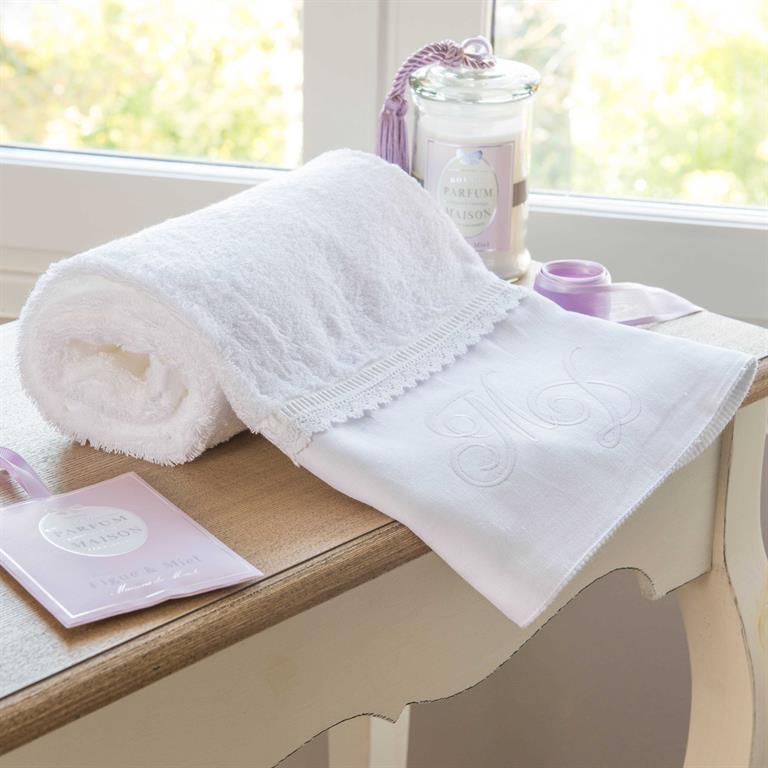 Serviette de toilette en coton blanche 30 x 50 cm ROMANCE