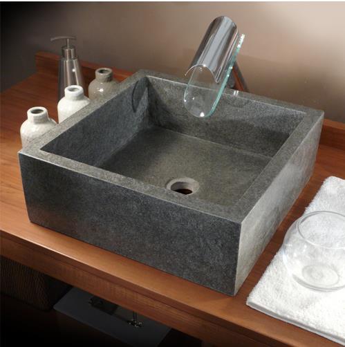 lavabo carr en pierre grise