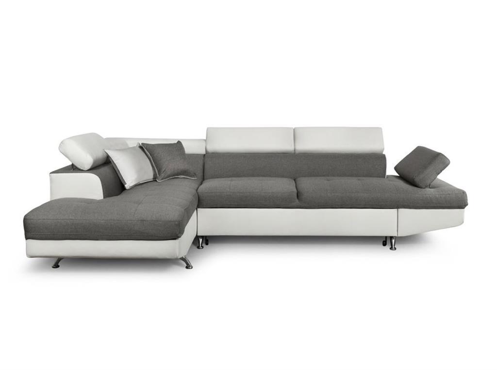 Canapé d'angle gauche convertible avec coffre bi-matière blanc/gris