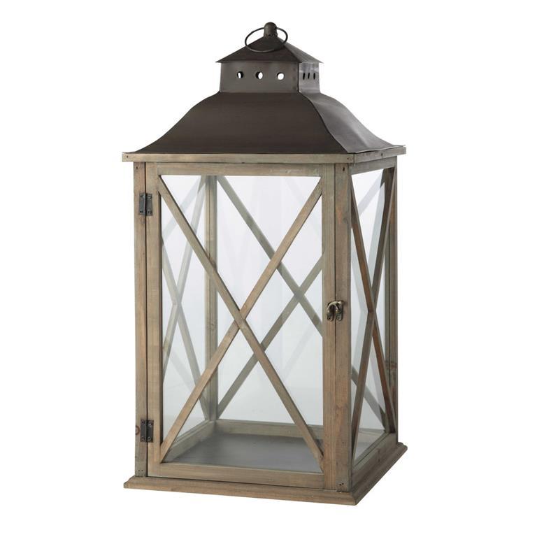 Lanterne de jardin en bois grisé H 72 cm LEONTINE