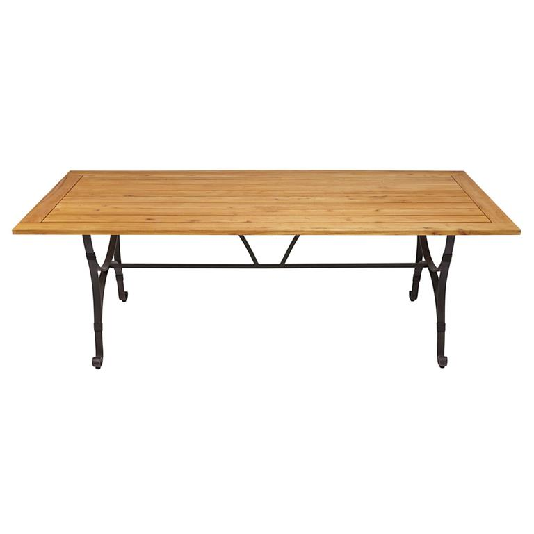 Table de jardin en robinier massif et métal brun foncé 8 personnes Ajaccio