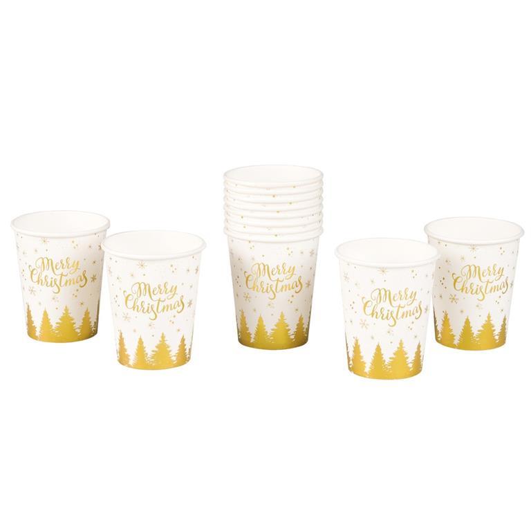 12 gobelets en carton blanc imprimé doré