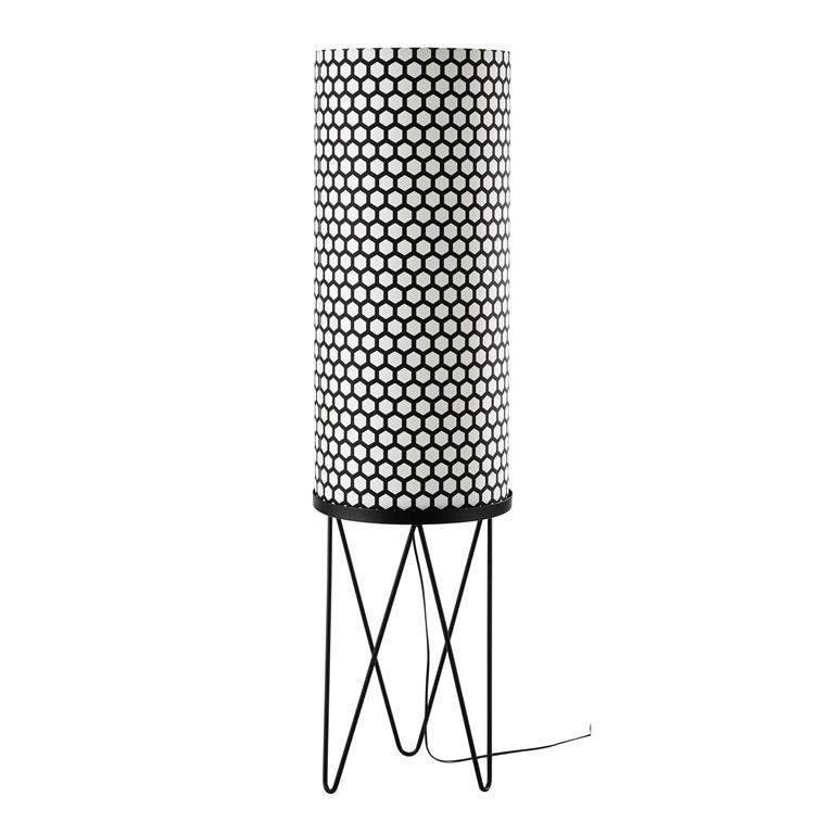 Lampadaire en métal et coton noir/blanc H 130 cm CALLIGRAPHIK