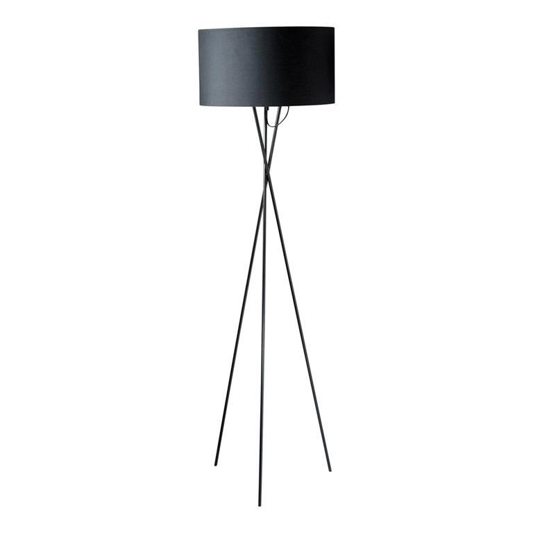 Lampadaire trépied en métal et abat-jour en coton noir H154