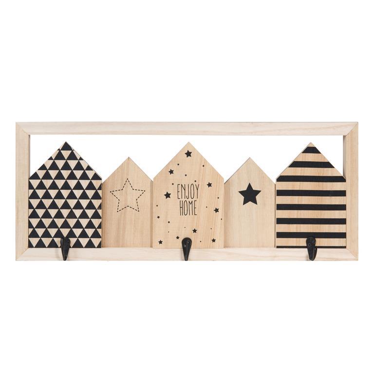 Patère 3 crochets en bois BLACKSTAGE HOME