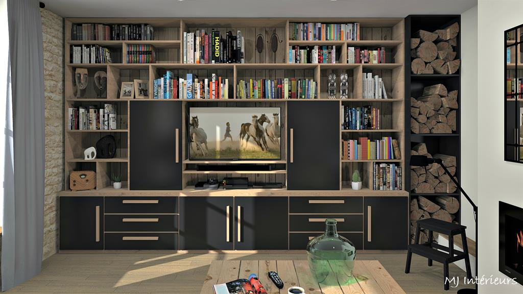 cuisine verri re et biblioth que sur mesure. Black Bedroom Furniture Sets. Home Design Ideas
