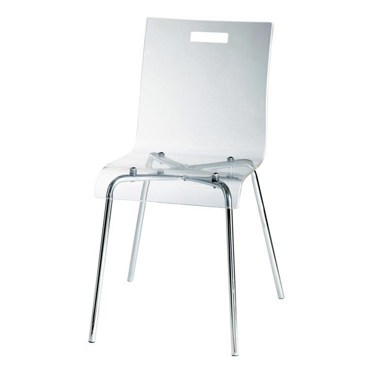 Chaise en plastique acrylique et acier Glass