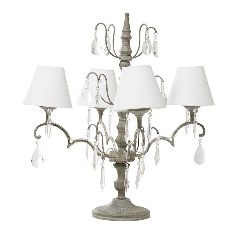 Lampe en bois et 4 abat-jour en coton écru H 62 cm ANABELLE