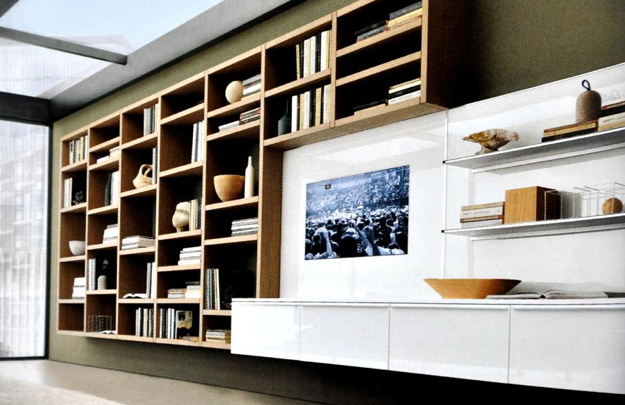 biblioth que moderne en bois et meuble t l laqu blanc. Black Bedroom Furniture Sets. Home Design Ideas