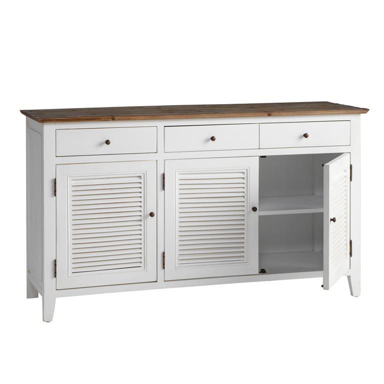 Buffet en bois blanc L 150 cm Sologne