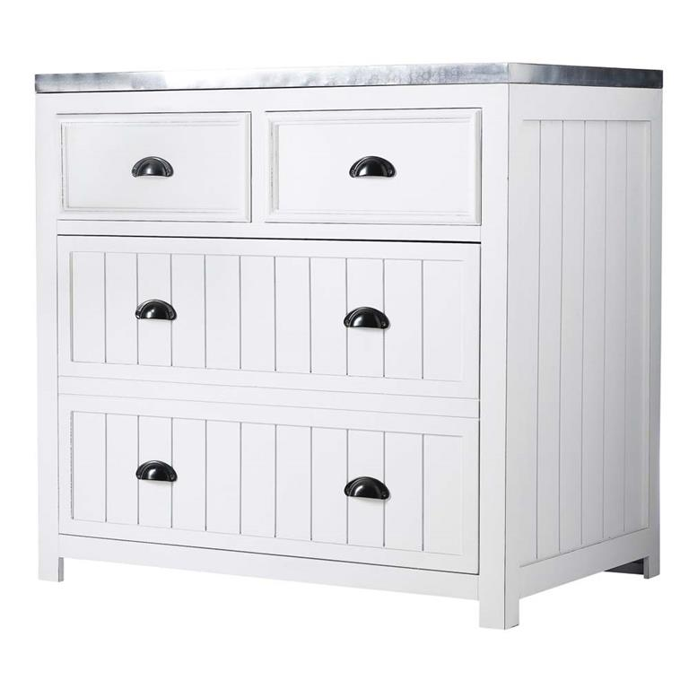 Meuble bas de cuisine en pin blanc L90 Newport Maisons du monde