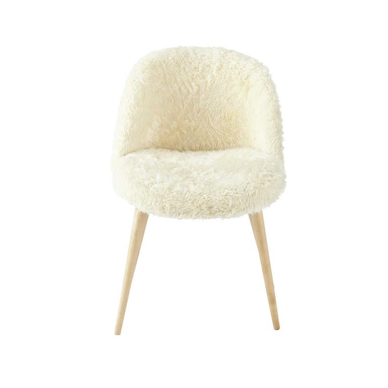 Chaise vintage en imitation fourrure ivoire et bouleau