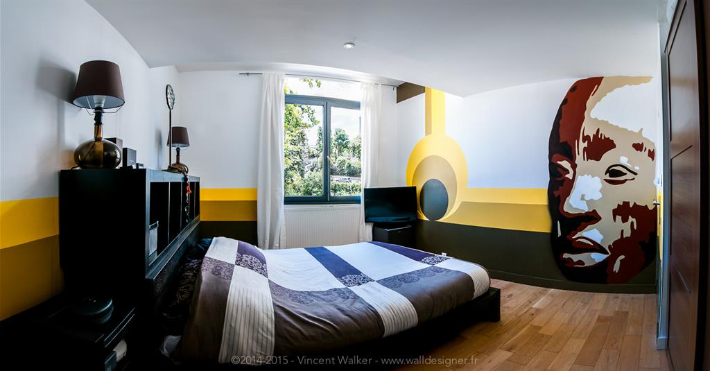 chambre avec portrait en fresque murale vincent walker. Black Bedroom Furniture Sets. Home Design Ideas