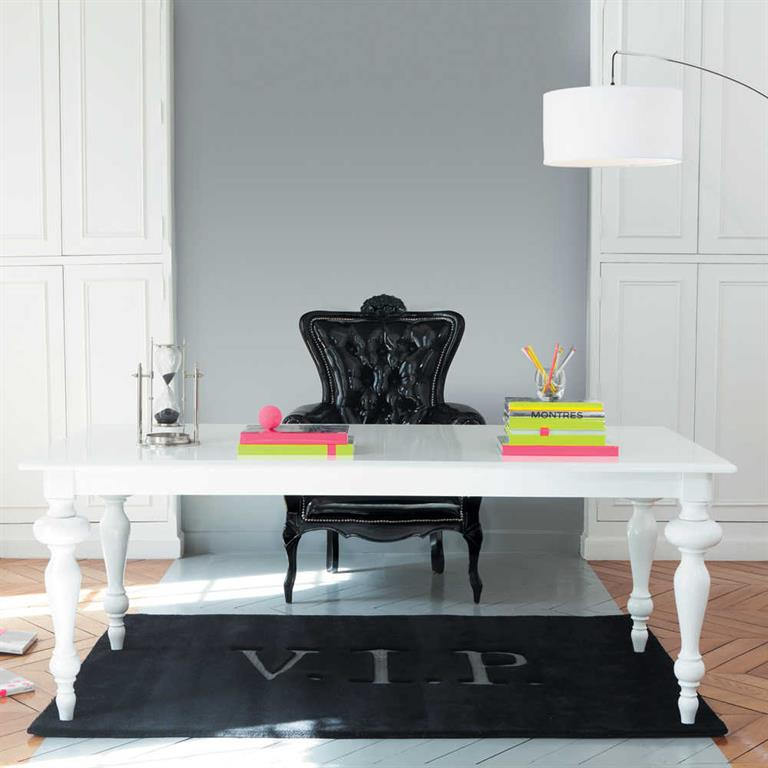 Table de salle à manger en bois blanche L 200 cm Barocco