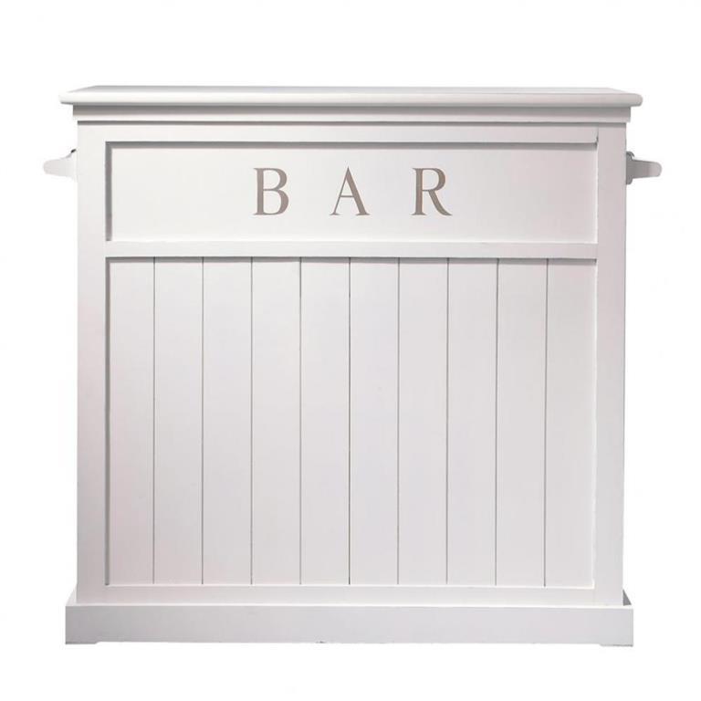 Meuble De Bar En Pin Blanc L 120 Cm Newport Maisons Du Monde