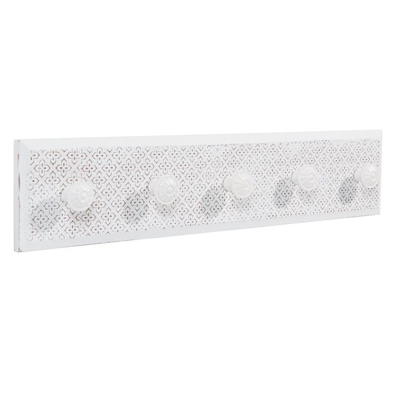 Patère 5 crochets en bois blanche YAELLE