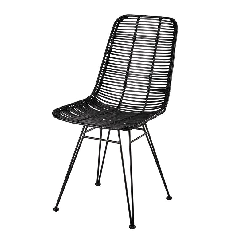 Chaise en rotin et métal noire Pitaya Maisons du monde